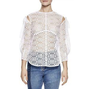 SANDRO Paris Ernesta NWT Sheer Lace Top White XS